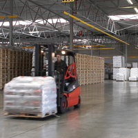 forklift driving warehouse